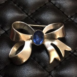 Antique Sterling Silver Sapphire Ribbon Brooch